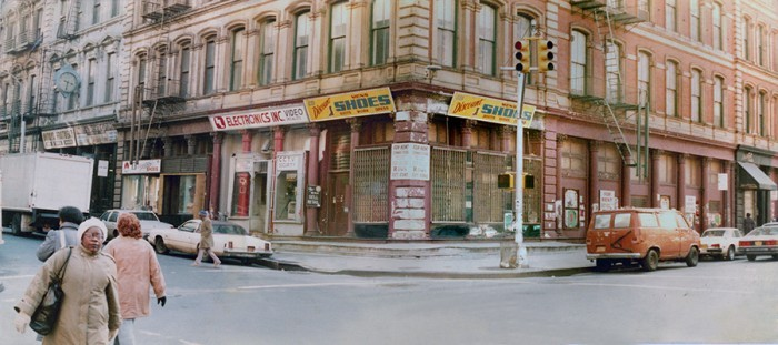 Duane Street and Read Street intersection NYC TriBeCa 1985