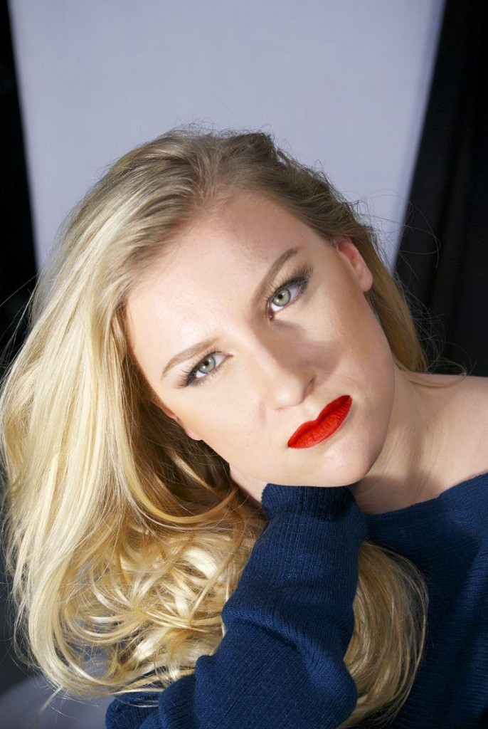 blonde girl with red lips