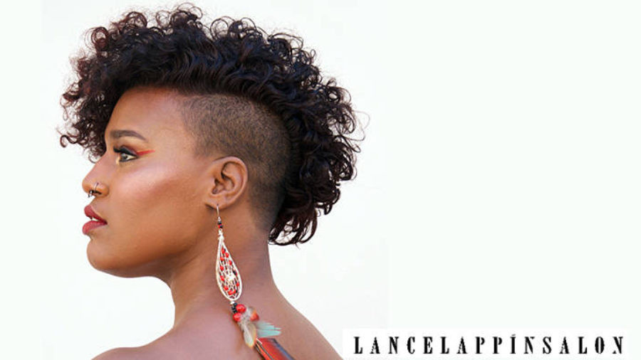 natural hairstyle: african-american woman with natural mohawk and shaved sides