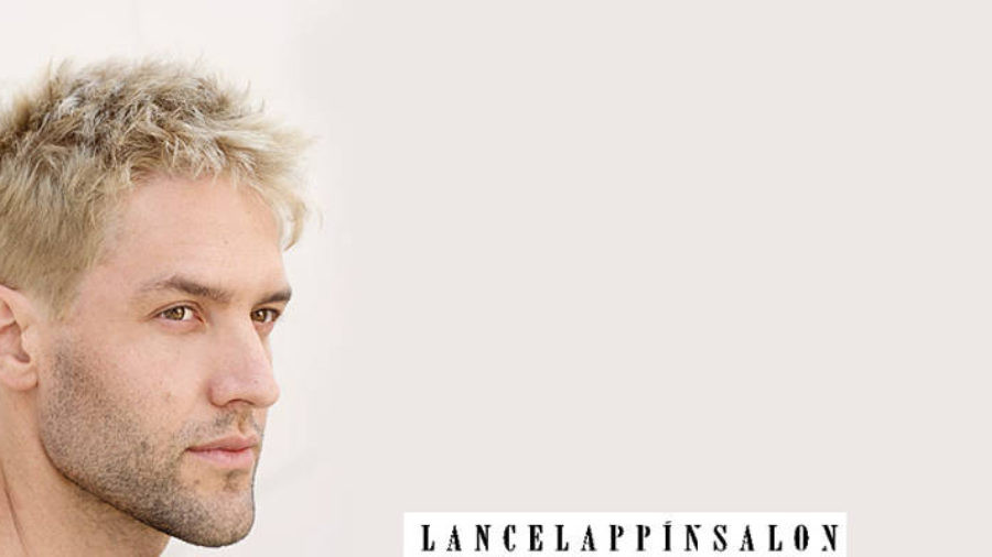 guy with platinum hair and short haircut